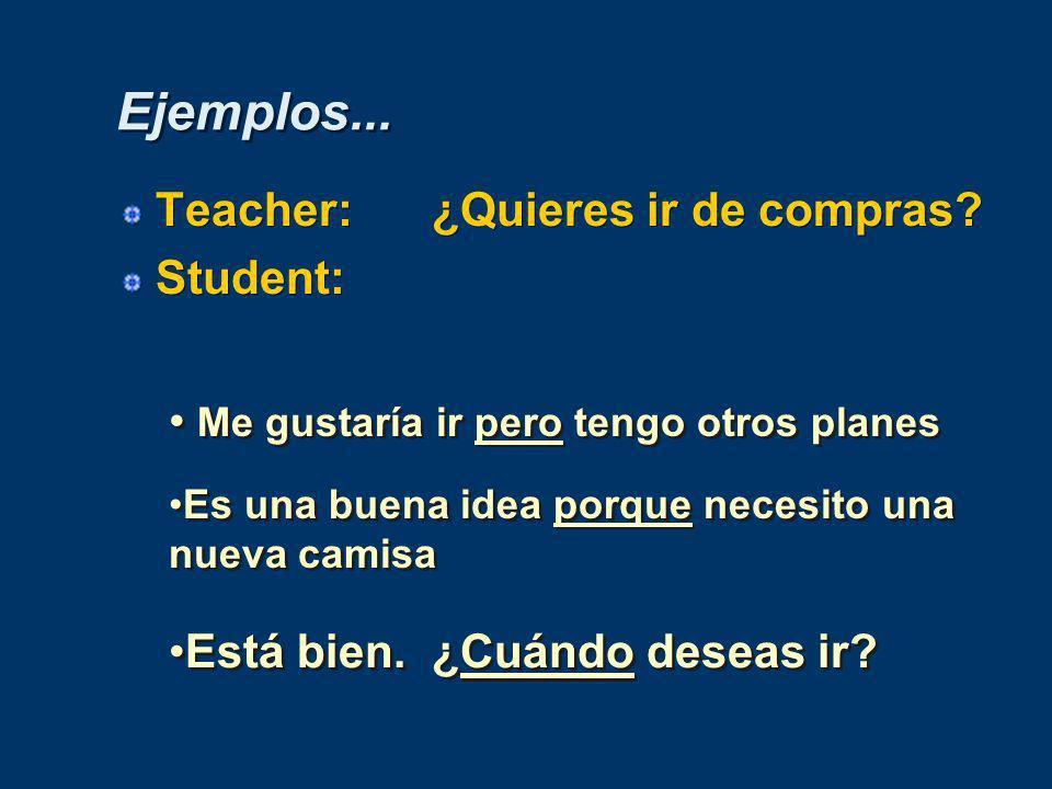 Ejemplos...Teacher:¿Quieres ir de compras. Student: Teacher:¿Quieres ir de compras.