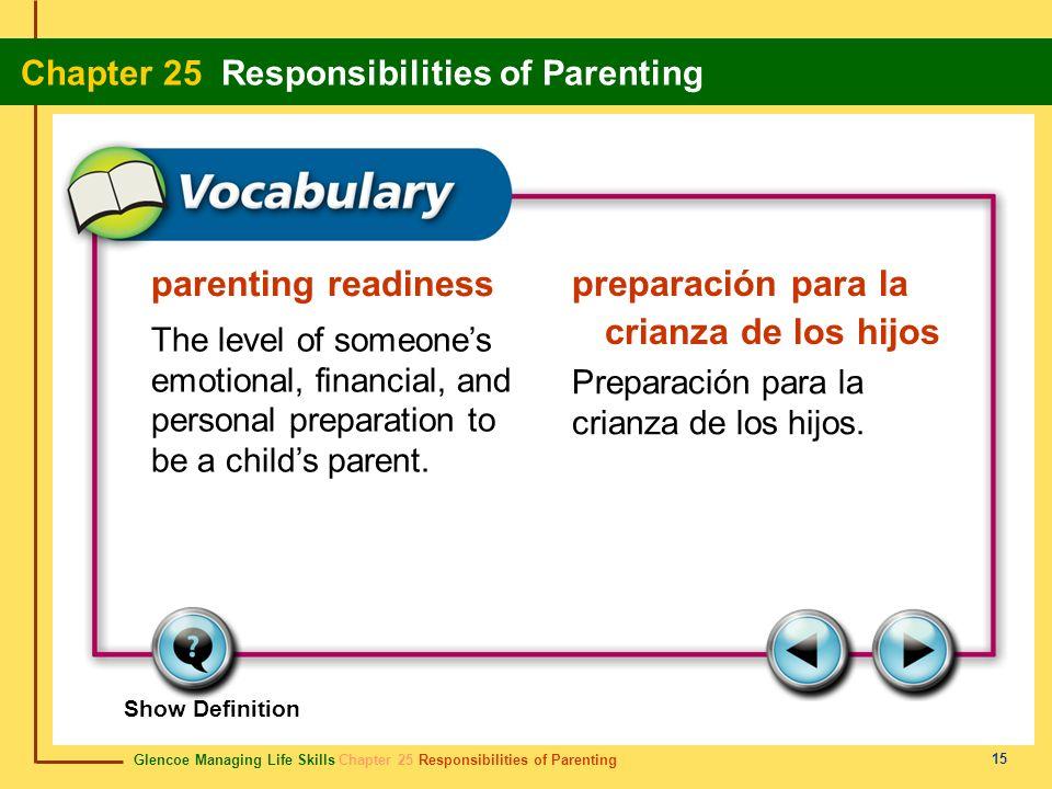 Glencoe Managing Life Skills Chapter 25 Responsibilities of Parenting Chapter 25 Responsibilities of Parenting 15 parenting readiness preparación para