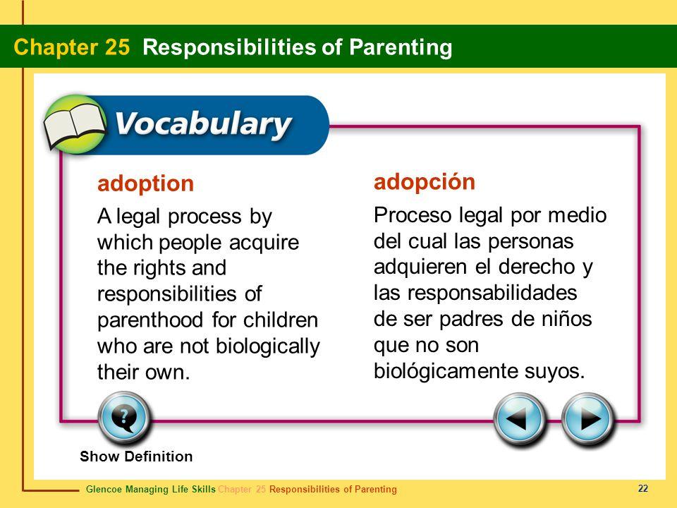Glencoe Managing Life Skills Chapter 25 Responsibilities of Parenting Chapter 25 Responsibilities of Parenting 22 adoption adopción A legal process by