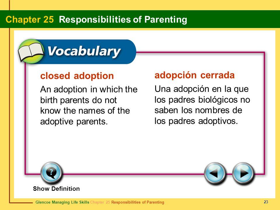 Glencoe Managing Life Skills Chapter 25 Responsibilities of Parenting Chapter 25 Responsibilities of Parenting 23 closed adoption adopción cerrada An