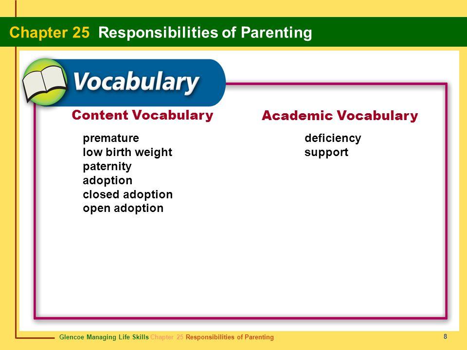 Glencoe Managing Life Skills Chapter 25 Responsibilities of Parenting Chapter 25 Responsibilities of Parenting 8 Content Vocabulary Academic Vocabular