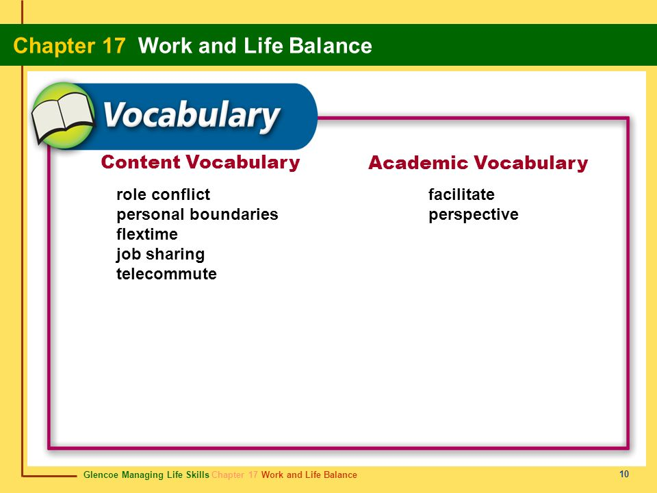 Glencoe Managing Life Skills Chapter 17 Work and Life Balance Chapter 17 Work and Life Balance 10 Content Vocabulary Academic Vocabulary role conflict
