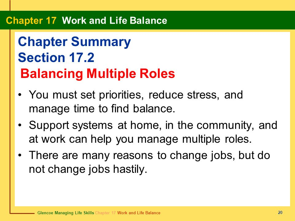 Glencoe Managing Life Skills Chapter 17 Work and Life Balance Chapter 17 Work and Life Balance 20 Chapter Summary Section 17.2 You must set priorities