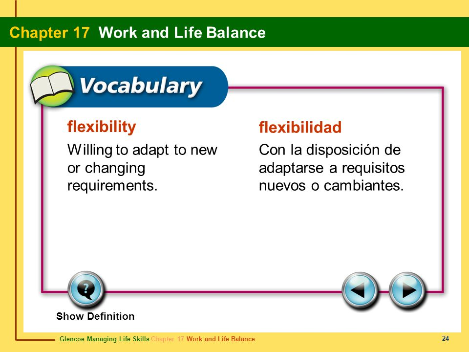 Glencoe Managing Life Skills Chapter 17 Work and Life Balance Chapter 17 Work and Life Balance 24 flexibility flexibilidad Willing to adapt to new or