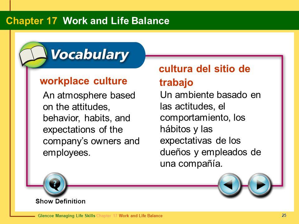 Glencoe Managing Life Skills Chapter 17 Work and Life Balance Chapter 17 Work and Life Balance 25 workplace culture cultura del sitio de trabajo An at