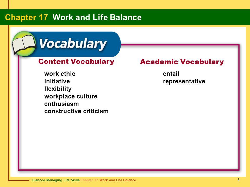 Glencoe Managing Life Skills Chapter 17 Work and Life Balance Chapter 17 Work and Life Balance 3 Content Vocabulary Academic Vocabulary work ethic ini