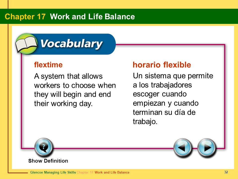Glencoe Managing Life Skills Chapter 17 Work and Life Balance Chapter 17 Work and Life Balance 32 flextime horario flexible A system that allows worke