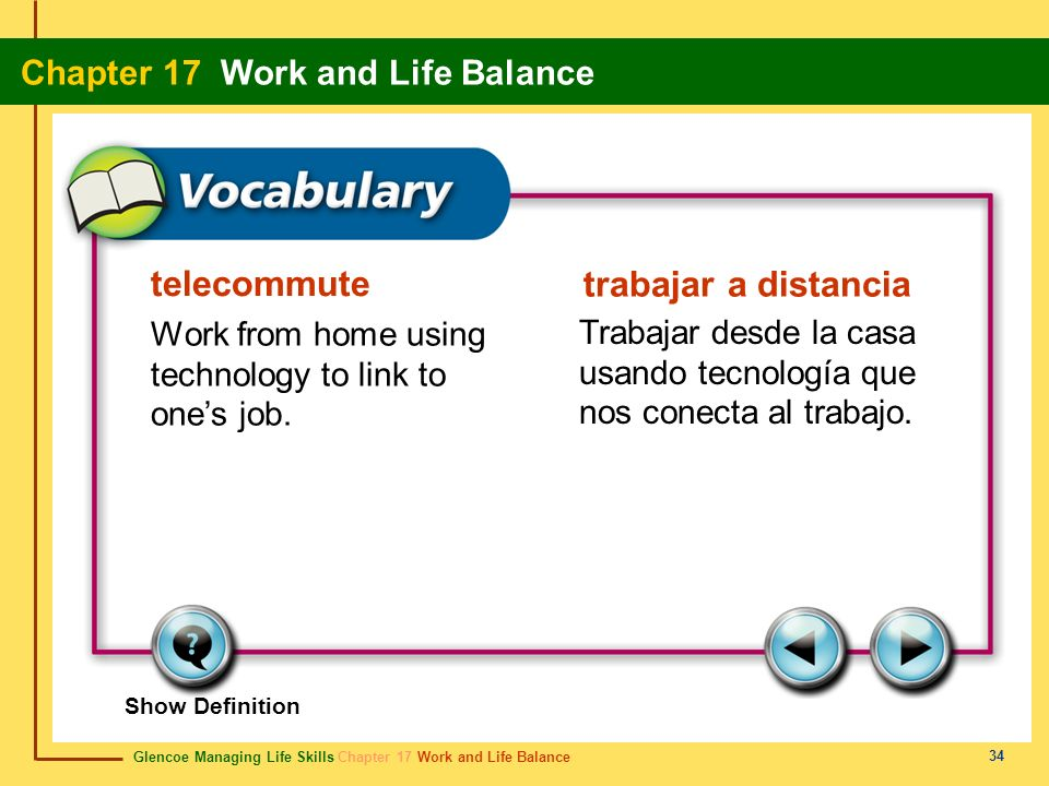 Glencoe Managing Life Skills Chapter 17 Work and Life Balance Chapter 17 Work and Life Balance 34 telecommute trabajar a distancia Work from home usin