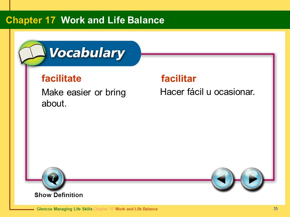 Glencoe Managing Life Skills Chapter 17 Work and Life Balance Chapter 17 Work and Life Balance 35 facilitate facilitar Make easier or bring about. Hac