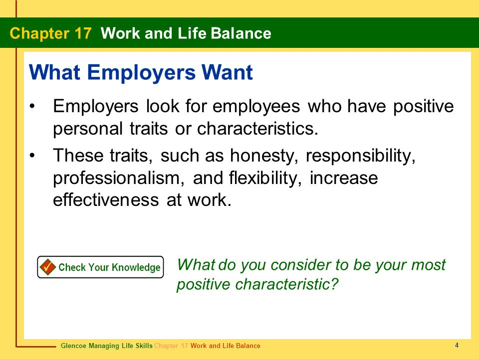 Glencoe Managing Life Skills Chapter 17 Work and Life Balance Chapter 17 Work and Life Balance 4 What Employers Want Employers look for employees who