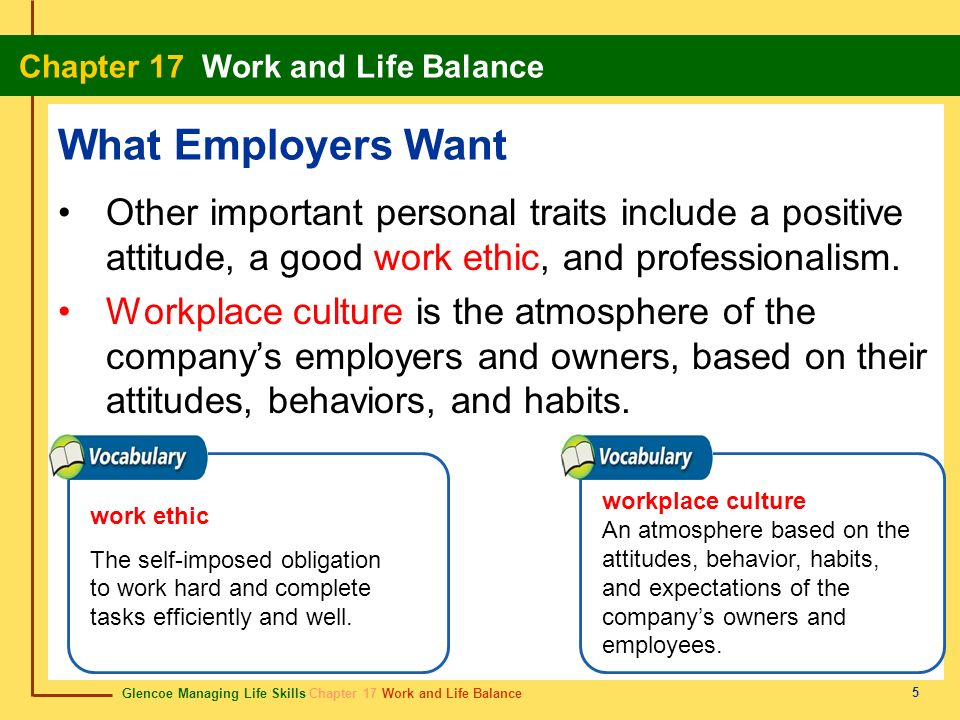 Glencoe Managing Life Skills Chapter 17 Work and Life Balance Chapter 17 Work and Life Balance 5 What Employers Want Other important personal traits i