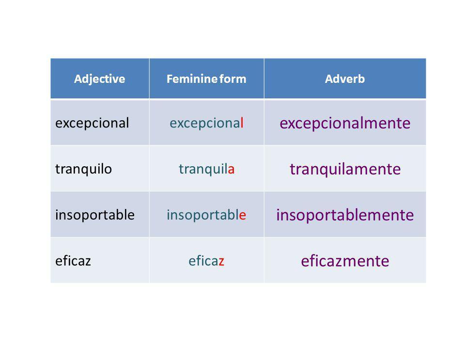 AdjectiveFeminine formAdverb excepcional excepcionalmente tranquilotranquila tranquilamente insoportable insoportablemente eficaz eficazmente