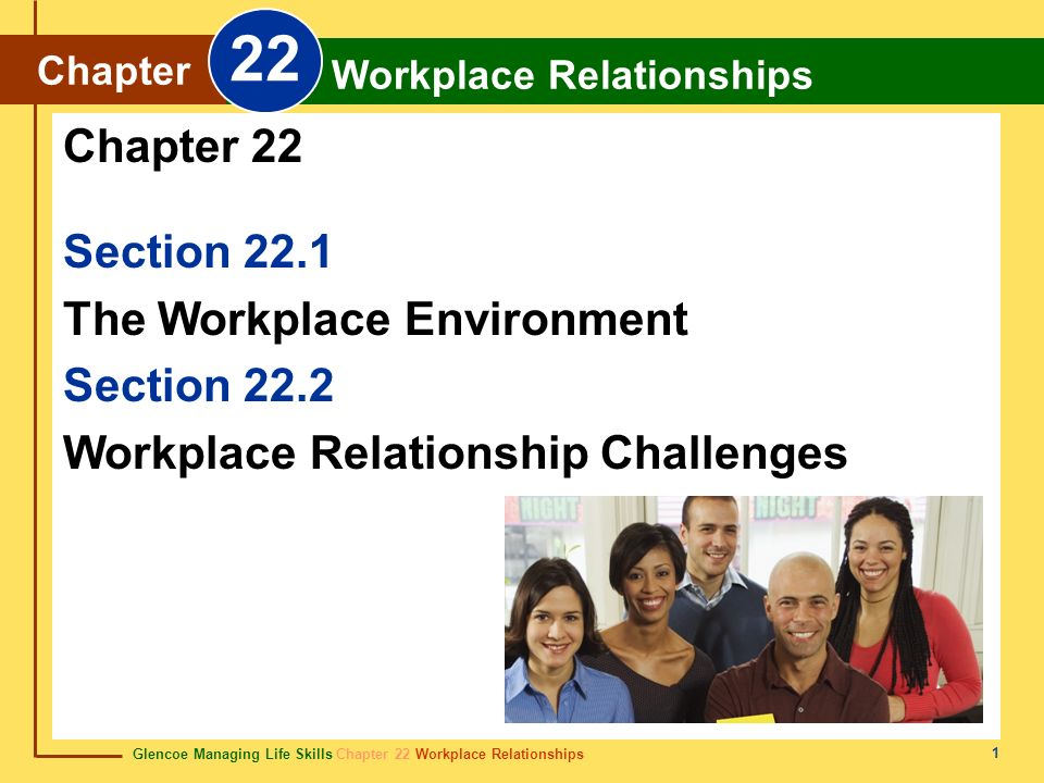 Glencoe Managing Life Skills Chapter 22 Workplace Relationships Chapter 22 Workplace Relationships 2 Workplace relationships differ from outside friendships.