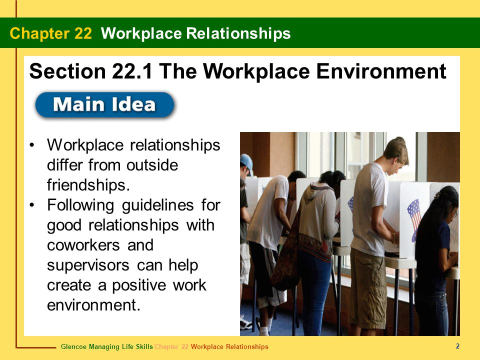 Glencoe Managing Life Skills Chapter 22 Workplace Relationships Chapter 22 Workplace Relationships 3 Content Vocabulary Academic Vocabulary etiquette supervisor contribute objective