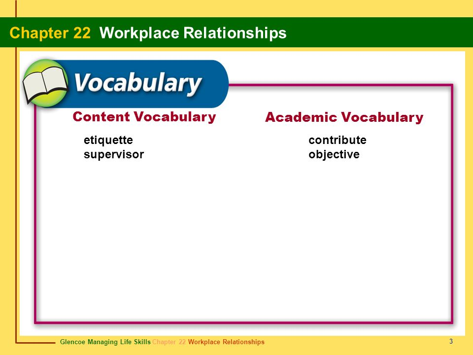 Glencoe Managing Life Skills Chapter 22 Workplace Relationships Chapter 22 Workplace Relationships 14 Review Start Do you remember the vocabulary terms from this chapter.