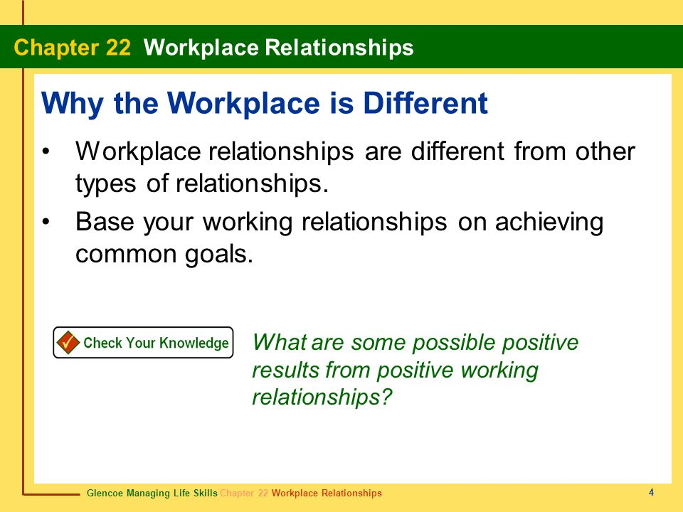 Glencoe Managing Life Skills Chapter 22 Workplace Relationships Chapter 22 Workplace Relationships 5 You and Your Coworkers Good workplace relationships can make the job more enjoyable and contribute to productivity.