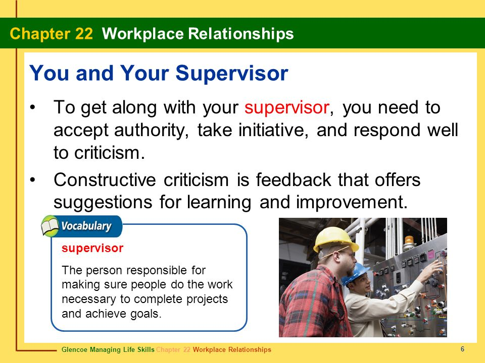 Glencoe Managing Life Skills Chapter 22 Workplace Relationships Chapter 22 Workplace Relationships 7 Conflicts, stereotyping, rivalries, and harassment are common problems that impact workplace relationships.