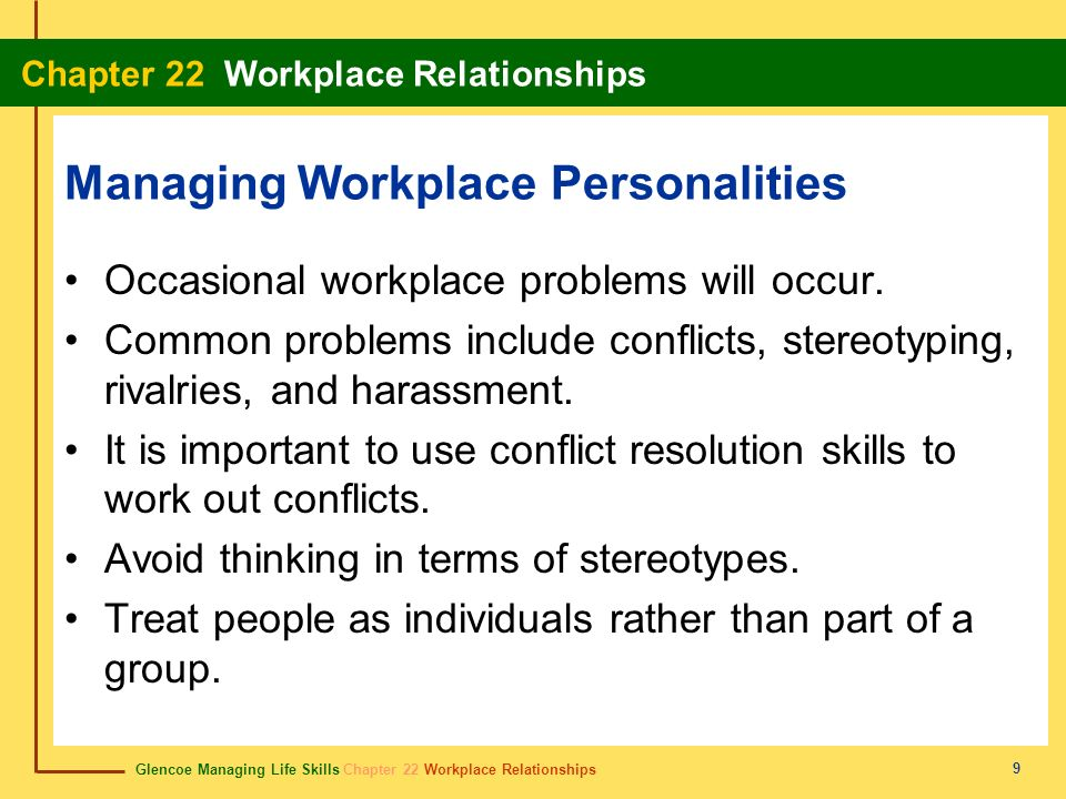 Glencoe Managing Life Skills Chapter 22 Workplace Relationships Chapter 22 Workplace Relationships 20 rivalry rivalidad A situation in which people compete to gain an advantage.