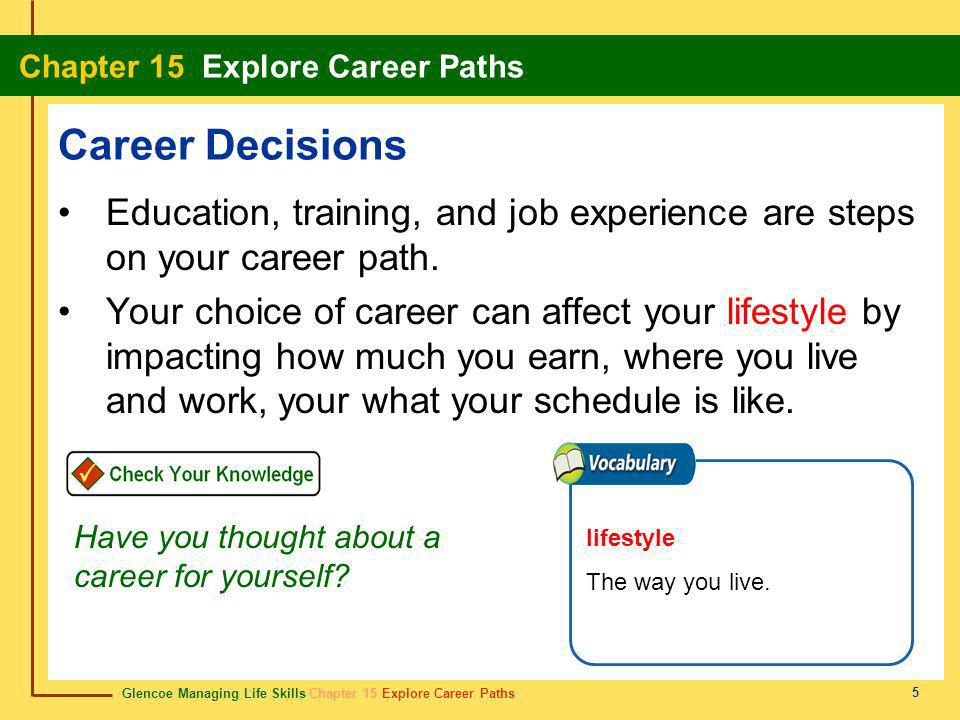 Glencoe Managing Life Skills Chapter 15 Explore Career Paths Chapter 15 Explore Career Paths 26 entrepreneur empresario Someone who sets up and operates a business.