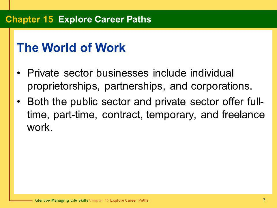 Glencoe Managing Life Skills Chapter 15 Explore Career Paths Chapter 15 Explore Career Paths 18 Chapter Summary Section 15.1 While most people work to make money, a career can also help satisfy physical, emotional, intellectual, and social needs.