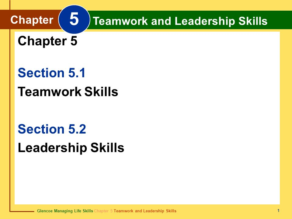 Glencoe Managing Life Skills Chapter 5 Teamwork and Leadership Skills Chapter 5 Teamwork and Leadership Skills 42 quality cualidad Characteristic or attribute.
