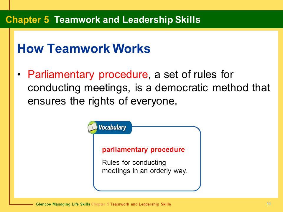 Glencoe Managing Life Skills Chapter 5 Teamwork and Leadership Skills Chapter 5 Teamwork and Leadership Skills 11 How Teamwork Works Parliamentary pro