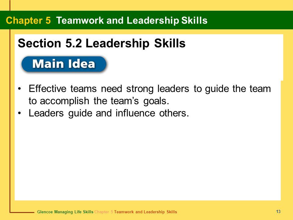Glencoe Managing Life Skills Chapter 5 Teamwork and Leadership Skills Chapter 5 Teamwork and Leadership Skills 13 Effective teams need strong leaders