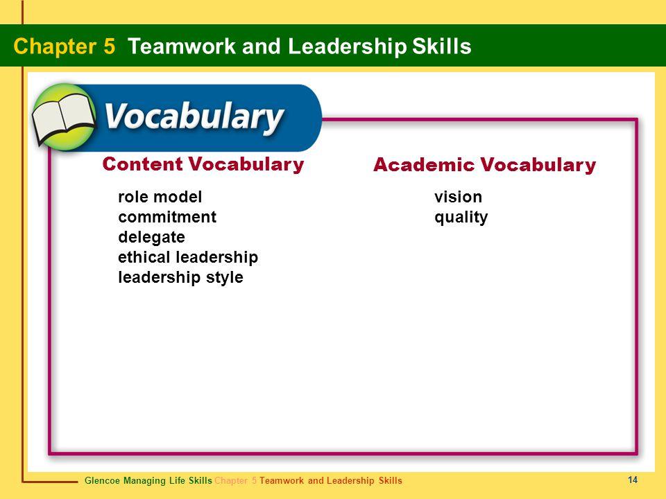 Glencoe Managing Life Skills Chapter 5 Teamwork and Leadership Skills Chapter 5 Teamwork and Leadership Skills 14 Content Vocabulary Academic Vocabula