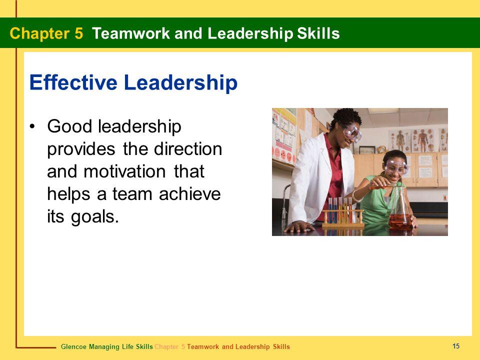 Glencoe Managing Life Skills Chapter 5 Teamwork and Leadership Skills Chapter 5 Teamwork and Leadership Skills 15 Effective Leadership Good leadership