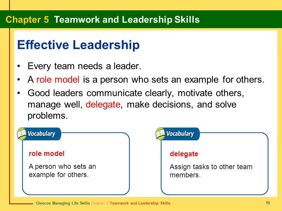 Glencoe Managing Life Skills Chapter 5 Teamwork and Leadership Skills Chapter 5 Teamwork and Leadership Skills 16 Effective Leadership Every team need