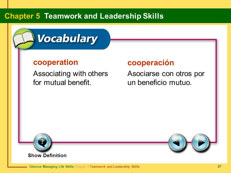 Glencoe Managing Life Skills Chapter 5 Teamwork and Leadership Skills Chapter 5 Teamwork and Leadership Skills 27 cooperation cooperación Associating