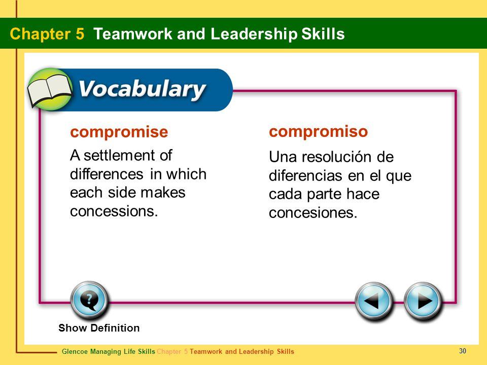 Glencoe Managing Life Skills Chapter 5 Teamwork and Leadership Skills Chapter 5 Teamwork and Leadership Skills 30 compromise compromiso A settlement o