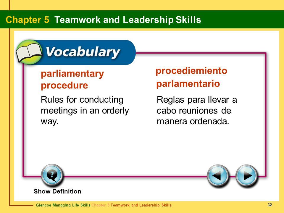 Glencoe Managing Life Skills Chapter 5 Teamwork and Leadership Skills Chapter 5 Teamwork and Leadership Skills 32 parliamentary procedure procediemien