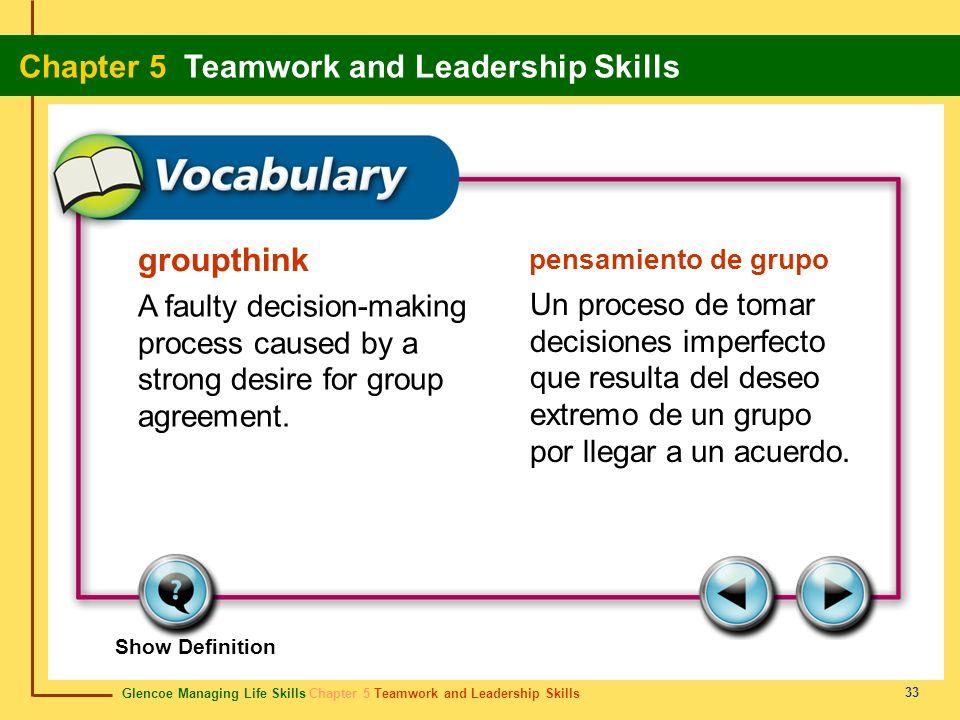 Glencoe Managing Life Skills Chapter 5 Teamwork and Leadership Skills Chapter 5 Teamwork and Leadership Skills 33 groupthink pensamiento de grupo A fa