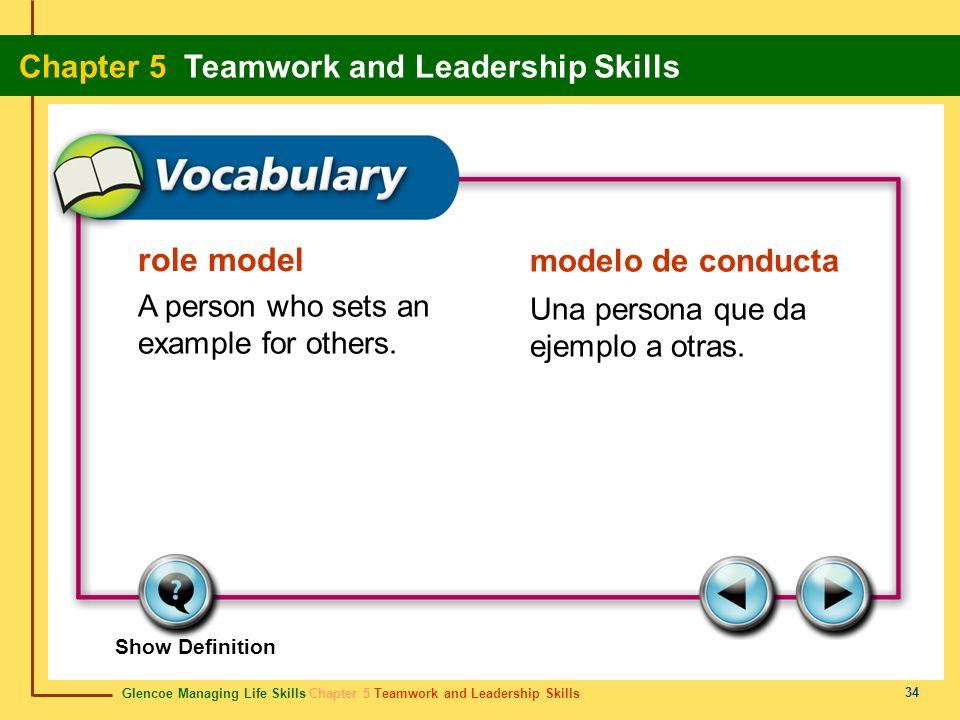 Glencoe Managing Life Skills Chapter 5 Teamwork and Leadership Skills Chapter 5 Teamwork and Leadership Skills 34 role model modelo de conducta A pers