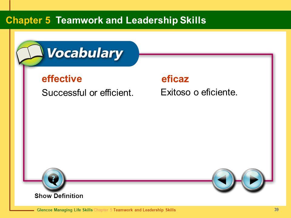 Glencoe Managing Life Skills Chapter 5 Teamwork and Leadership Skills Chapter 5 Teamwork and Leadership Skills 39 effective eficaz Successful or effic
