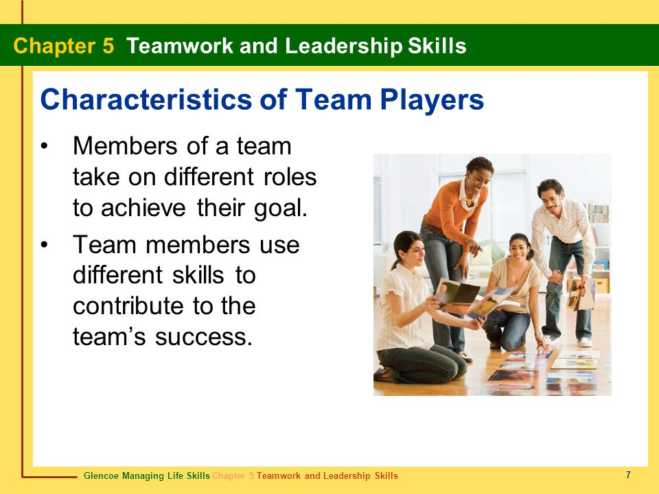 Glencoe Managing Life Skills Chapter 5 Teamwork and Leadership Skills Chapter 5 Teamwork and Leadership Skills 38 leadership style estilo de liderazgo A leaders pattern of behavior when directing a team.