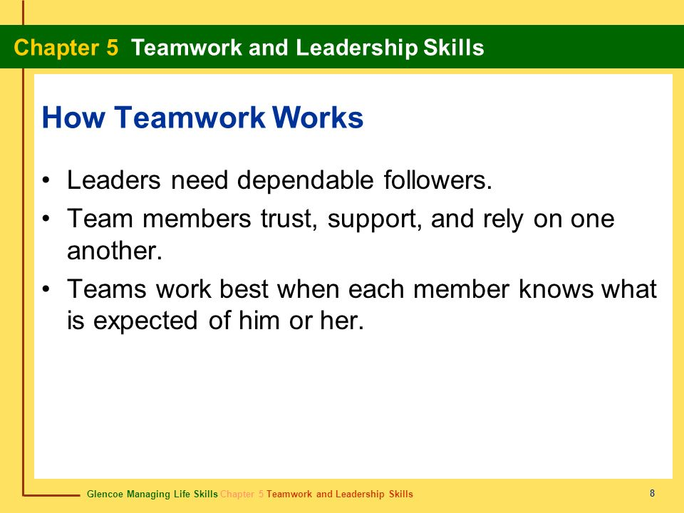 Glencoe Managing Life Skills Chapter 5 Teamwork and Leadership Skills Chapter 5 Teamwork and Leadership Skills 9 How Teamwork Works Teams work best when each member knows what is expected of him or her.