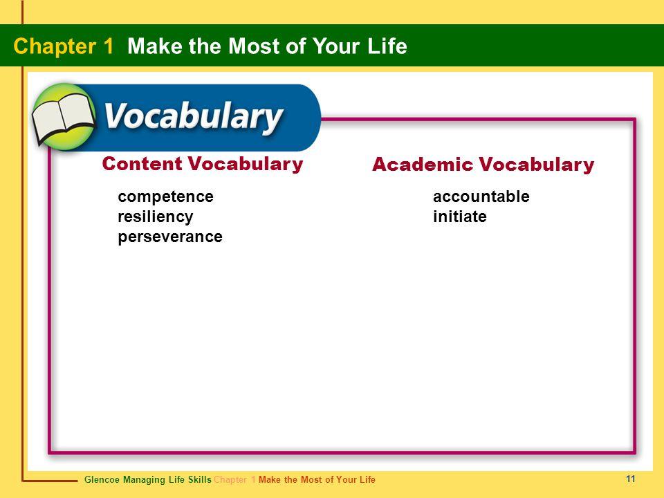 Glencoe Managing Life Skills Chapter 1 Make the Most of Your Life Chapter 1 Make the Most of Your Life 11 Content Vocabulary Academic Vocabulary compe