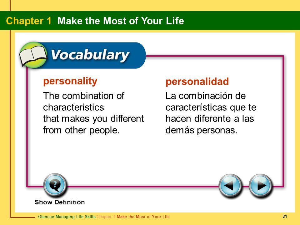 Glencoe Managing Life Skills Chapter 1 Make the Most of Your Life Chapter 1 Make the Most of Your Life 21 personality personalidad The combination of