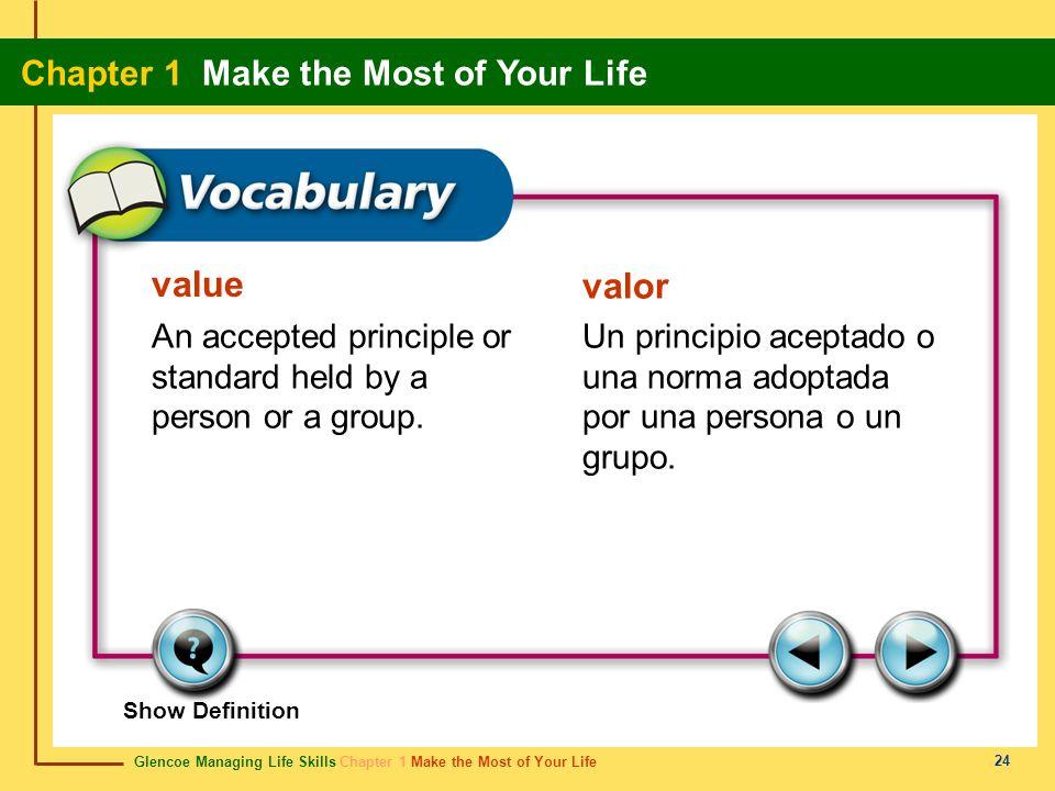 Glencoe Managing Life Skills Chapter 1 Make the Most of Your Life Chapter 1 Make the Most of Your Life 24 value valor An accepted principle or standar