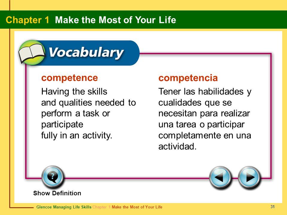Glencoe Managing Life Skills Chapter 1 Make the Most of Your Life Chapter 1 Make the Most of Your Life 31 competence competencia Having the skills and