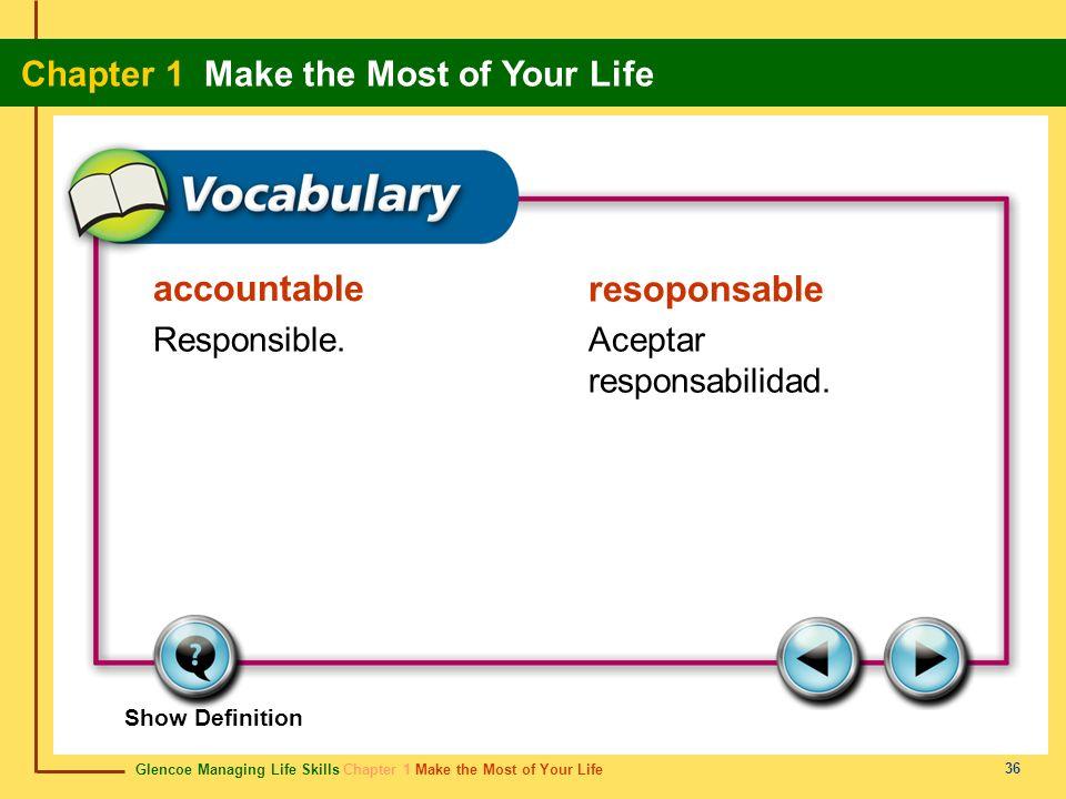 Glencoe Managing Life Skills Chapter 1 Make the Most of Your Life Chapter 1 Make the Most of Your Life 36 accountable resoponsable Responsible.Aceptar