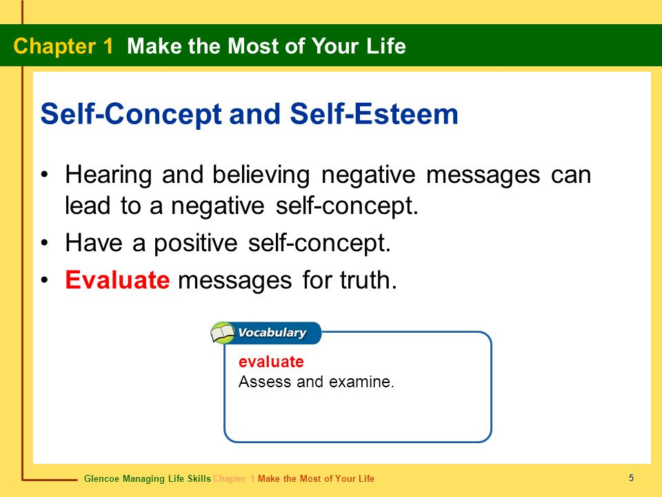 Glencoe Managing Life Skills Chapter 1 Make the Most of Your Life Chapter 1 Make the Most of Your Life 5 Self-Concept and Self-Esteem Hearing and beli