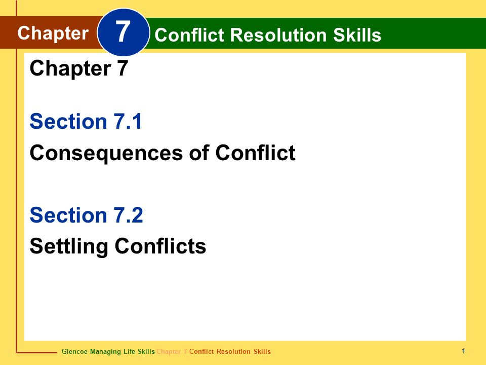 Glencoe Managing Life Skills Chapter 7 Conflict Resolution Skills Chapter 7 Conflict Resolution Skills 12 Conflict Prevention Violence is never acceptable in settling differences.