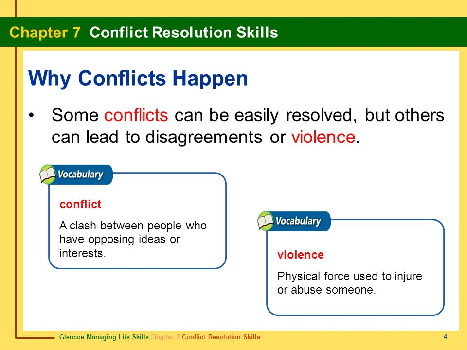 Glencoe Managing Life Skills Chapter 7 Conflict Resolution Skills Chapter 7 Conflict Resolution Skills 5 Why Conflicts Happen A power struggle happens when different people or groups feel a need to be in control.