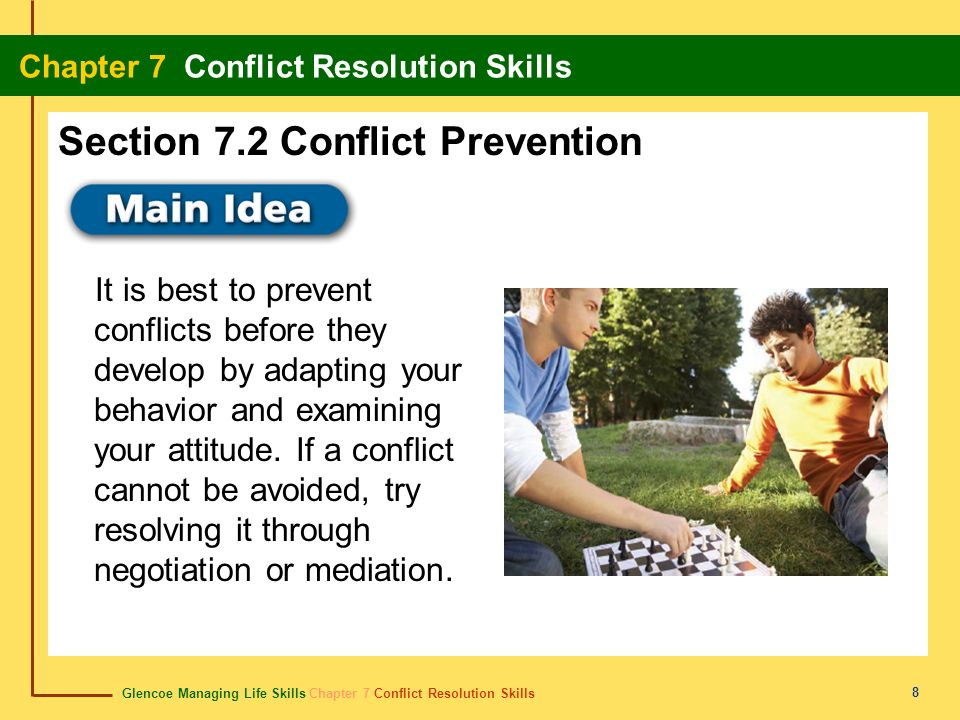 Glencoe Managing Life Skills Chapter 7 Conflict Resolution Skills Chapter 7 Conflict Resolution Skills 9 Content Vocabulary Academic Vocabulary peer education negotiation win-win solution mediation peer mediation adapt project