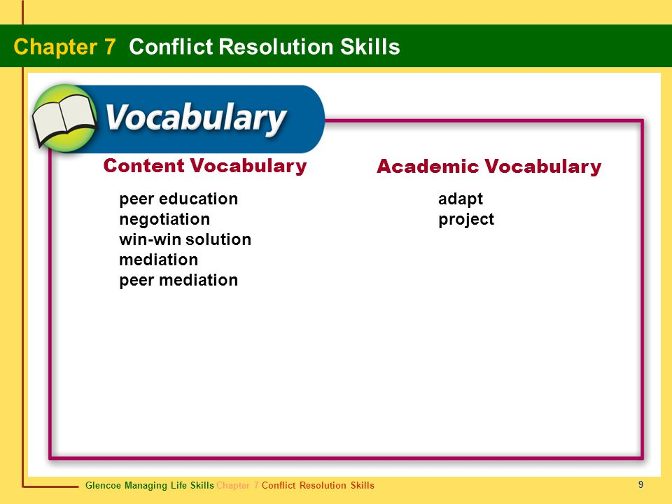 Glencoe Managing Life Skills Chapter 7 Conflict Resolution Skills Chapter 7 Conflict Resolution Skills 20 Review Start Do you remember the vocabulary terms from this chapter.
