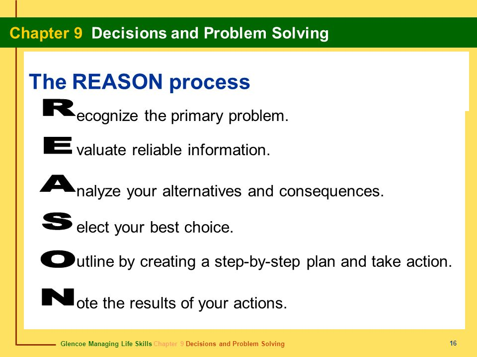 Glencoe Managing Life Skills Chapter 9 Decisions and Problem Solving Chapter 9 Decisions and Problem Solving 16 The REASON process ecognize the primar