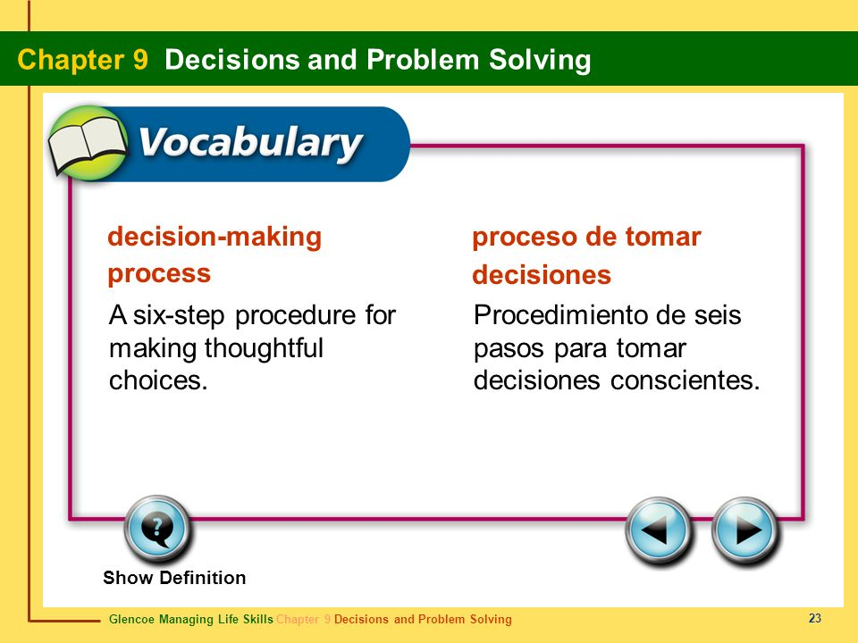 Glencoe Managing Life Skills Chapter 9 Decisions and Problem Solving Chapter 9 Decisions and Problem Solving 23 decision-making process proceso de tom